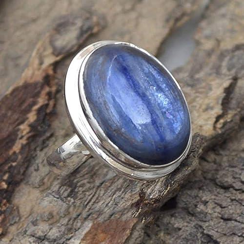 Beautiful Kyanite 925 Sterling Silver Oval Blue Gemstone Ladies Ring Gift Boxed