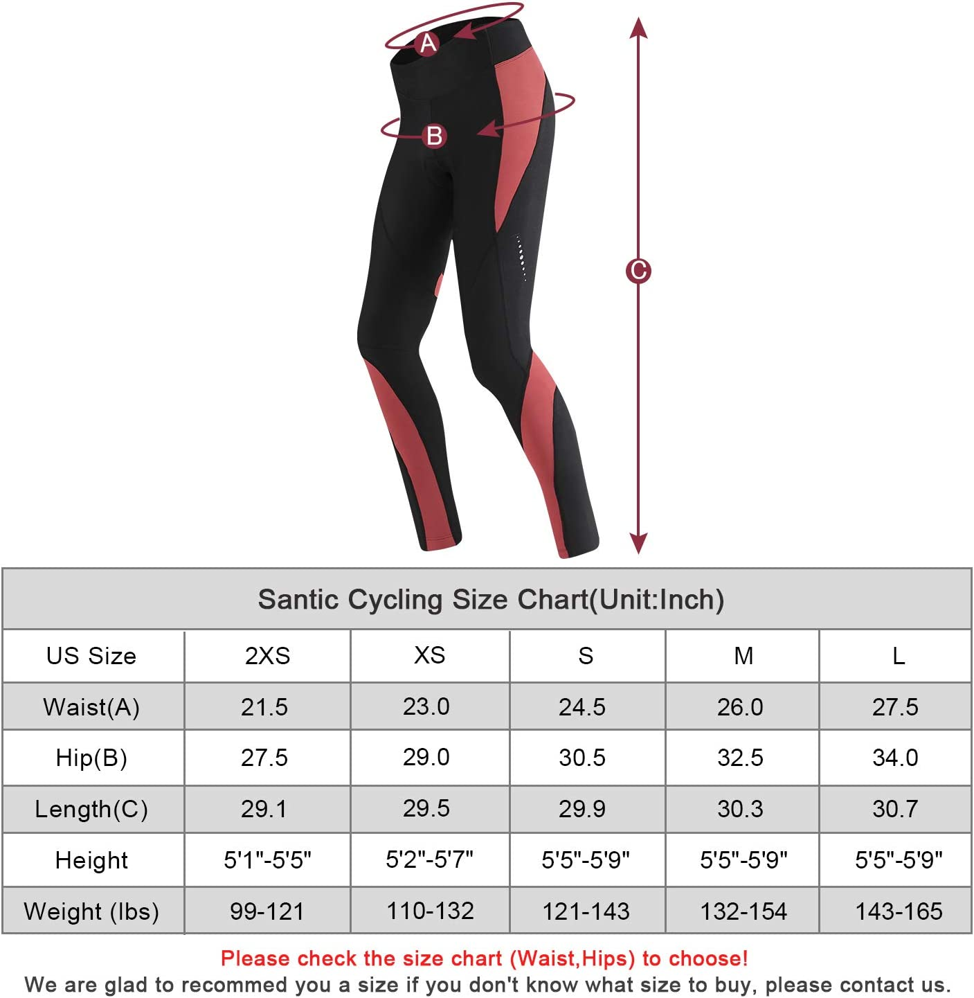 Santic Womens Cycling Thermal Pants 4D Padded Fleece Lined Winter Tights Bicycle Workout Leggings