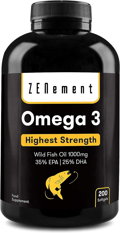 Omega-3 Aceite de Pescado Salvaje | 1000 mg x 200 perlas | Máxima concentración: 35% EPA + 25% DHA | Favorece la salud cardiovascular, de las articulaciones, y la función cerebral | 100% Natural