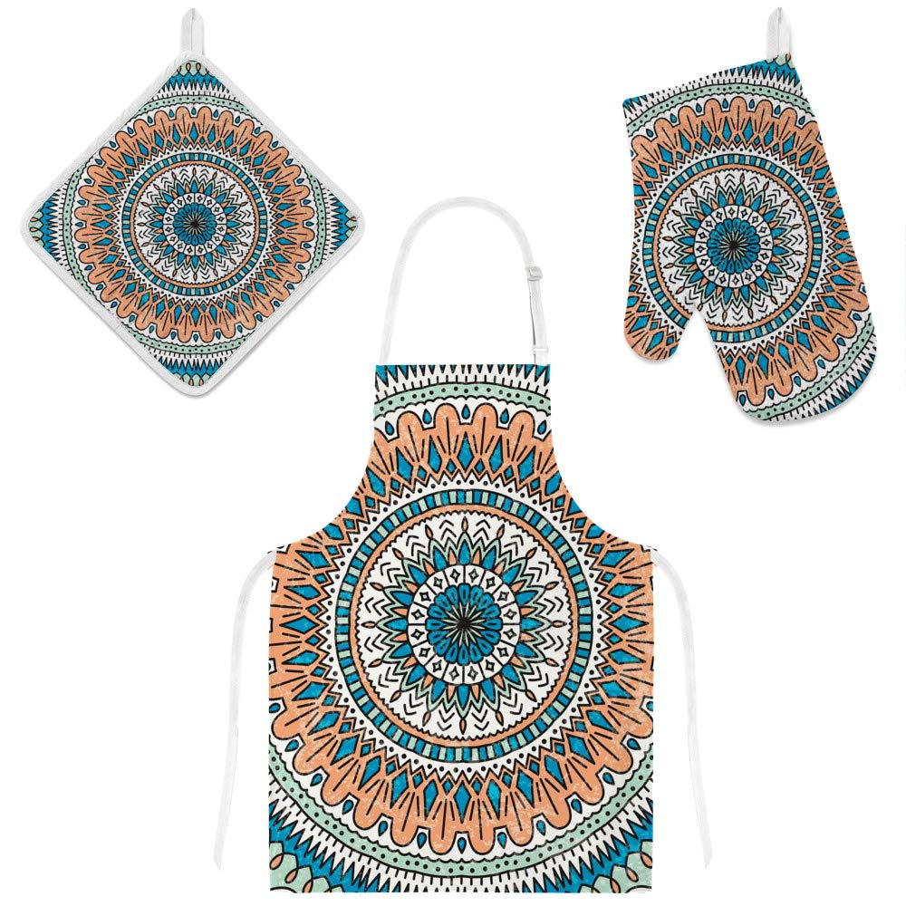 Top Carpenter Polyester Insulation Kitchen Oven Mitts Potholder Apron 3Pcs Set Vintage Ethnic Decoration Non Slip Heat Resistant Gloves for Baking Cooking BBQ