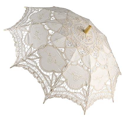 Fascigirl Banquete de Boda de la Dama de Honor Nupcial del Paraguas Bordado del Parasol del
