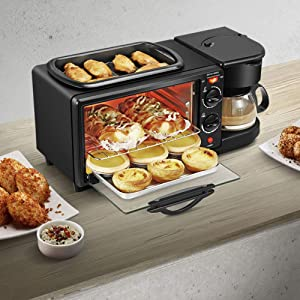 3 in 1 Breakfast Maker Station Hub 1050W 9L With(1050W 4 Cup Espresso Coffee Maker, Multi Function 9L Toaster Oven) Removable Crumb Tray Timer Control Glass(US Plug)