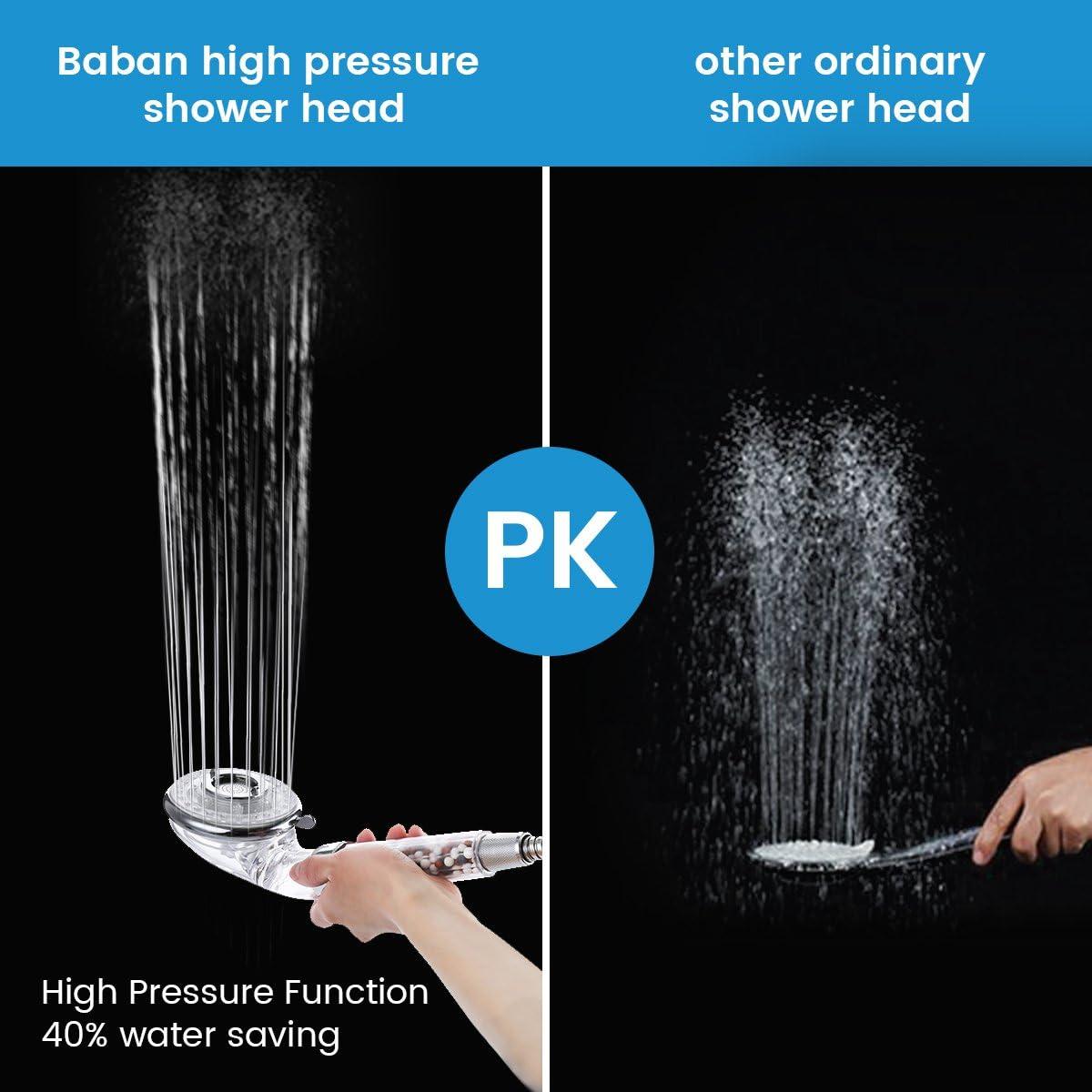 ducha de 3 v/ías ablanda el agua dura modo de parada de agua 40/% de ahorro de agua Cabeza de ducha de alta presi/ón Baban /¡viene con un paquete de esferas minerales extra para reemplazarlo!