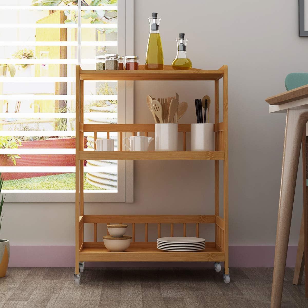 80 DlandHome DlandHome 3-Tier Storage Shelf Unit On Wheels 30.5 Bamboo Storage Utility Cart for Kitchen//Warehouse 53