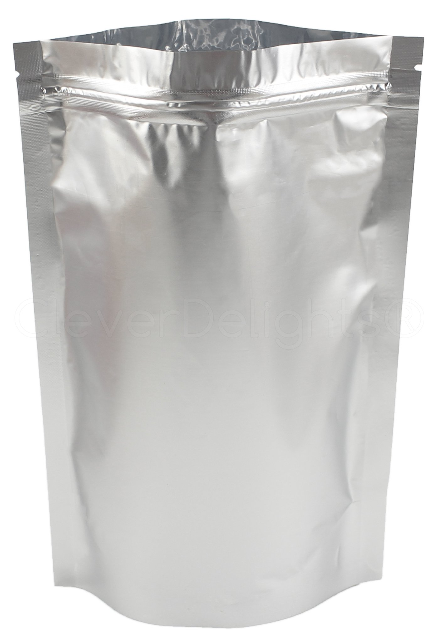 25 Pack - CleverDelights Silver Stand-Up Pouches - 6'' x 11'' x 3'' - 12oz - Resealable Ziplock Bag
