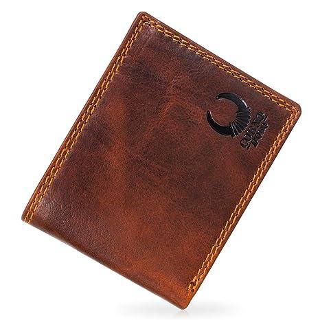 f0c6c5114162e Herren Geldbörse Leder mit TÜV-geprüftem RFID Blocker I Portemonnaie  Brieftasche Portmonee Vintage Geldbeutel mit