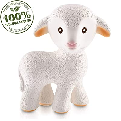 caaocho Pure Natural Rubber Baby Teether Toy - Mia The Lamb - Without Holes BPA Free Teething Toy, All Natural, Textured for Sensory Play, Sealed Hole, Hole Free Natural Teether, Reaches Molars : Baby