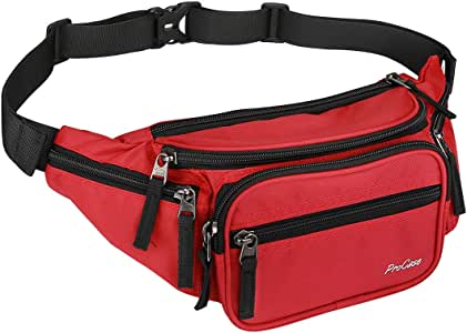 ProCase Fanny Pack Waist Packs for Men Women, Large Capacity Waist Bag Hip Pack for Travel Hiking Running Outdoor Sports -Red