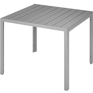 TecTake Table de Jardin Carrée, Meuble d\'Extérieur en Aluminium ...