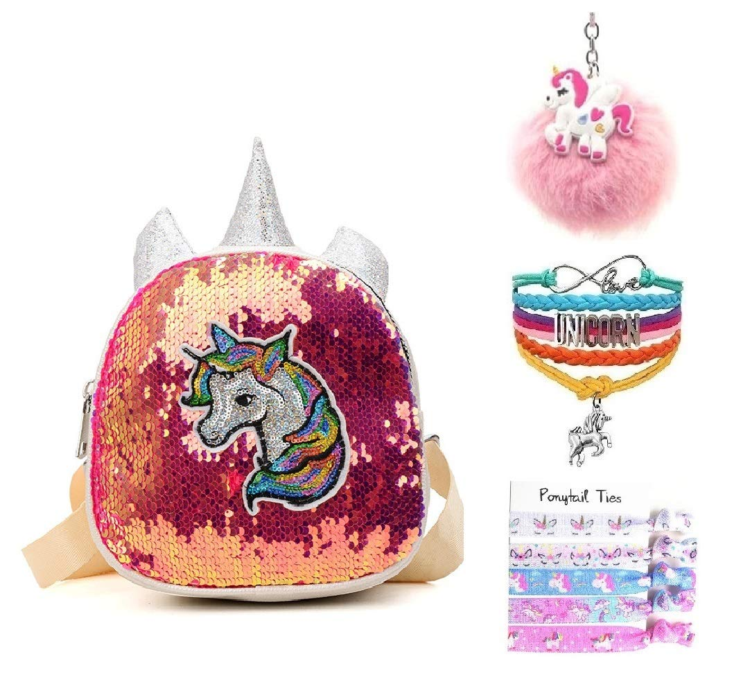 Fanovo Mermaid Sequin Embroidery Unicorn Backpack Mini Satchel Daypack Travel Shoulder Bag + Unicorn Keychain / Bracelet / Hair Ties - 9 Inch