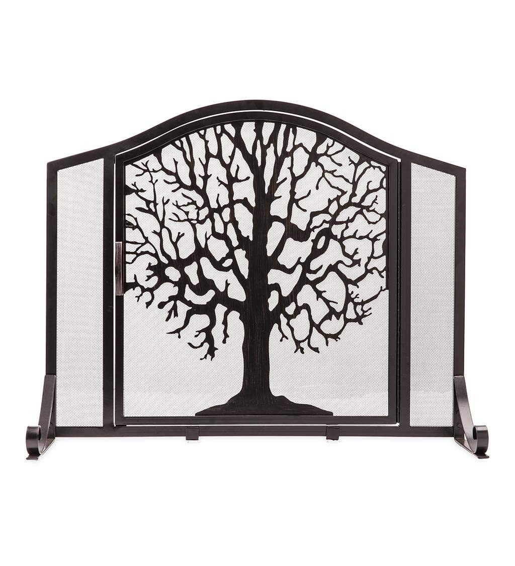 Plow & Hearth Small Tree Life Metal Fireplace Screen Single Hinged Door, Free Standing Spark Guard, 38 W x 31 H x 11.5 D, Black Gold Flecked by Plow & Hearth