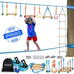 Jugader Ninjaline + Slackline Ninja Warrior Training Equipment for Kids - Backyard Obstacle Courses Including Rope Ladder, Gym Rings, Rope Knots, Monkey Bars