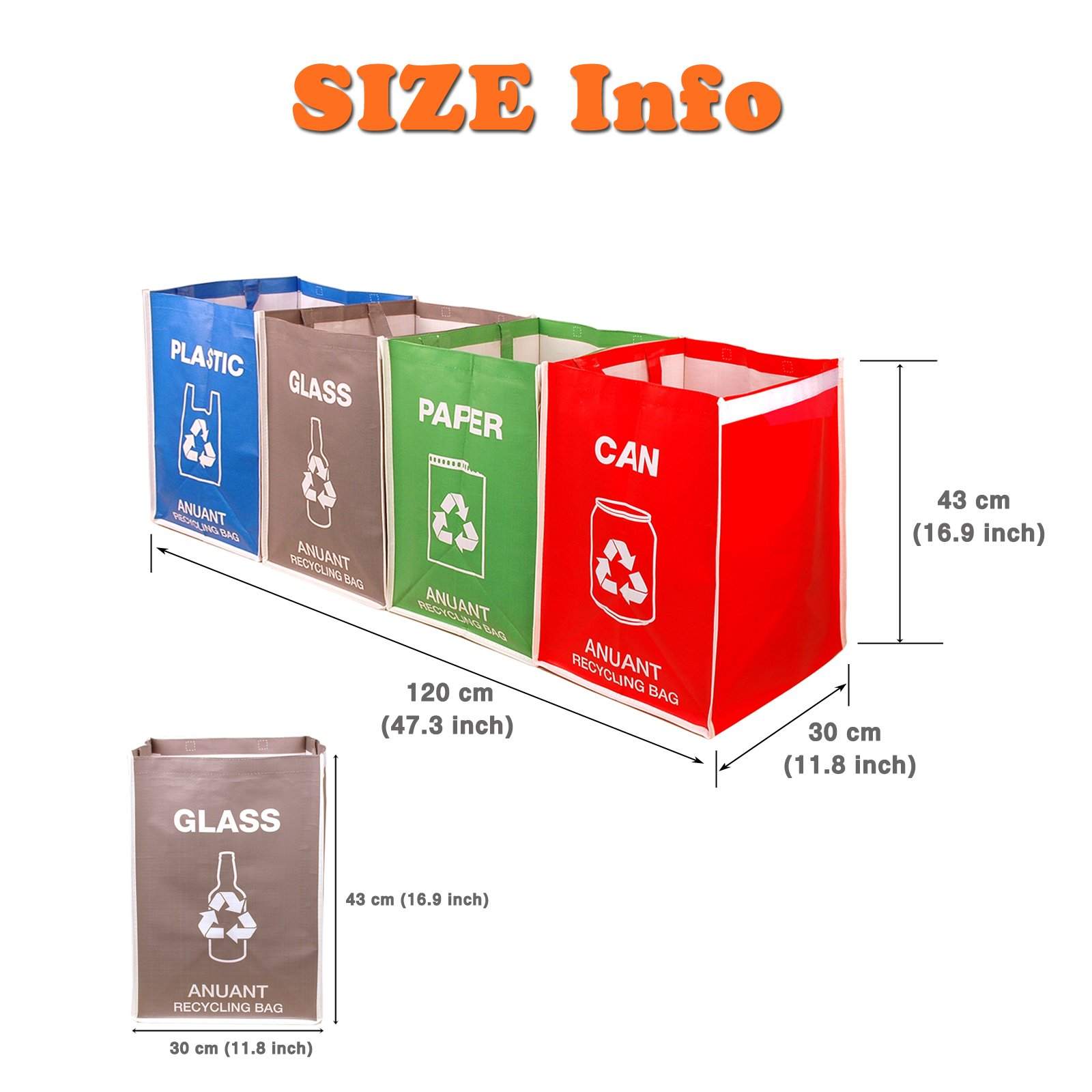 Separate Recycling Waste Bin Bags for Kitchen Office in Home - Recycle Garbage Trash Sorting Bins Organizer Waterproof Baskets Compartment Container Big Size 4 Bags Set by ANUANT (Image #7)