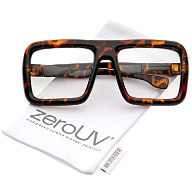 ef822e3ab8 zeroUV - Oversize Bold Thick Frame Clear Lens Square Eyeglasses 58mm (Shiny  Tortoise   Clear Lens)  Amazon.in  Clothing   Accessories