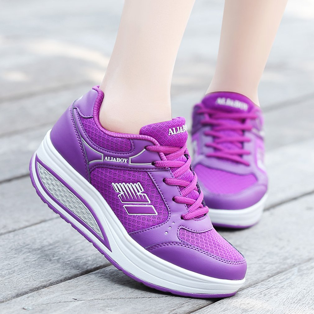 Solshine Damen Fashion Plateau Walkmaxx Schnürer Sneakers mit Keilabsatz Walkmaxx Plateau Schuhe Fitnessschuhe Lila 8 dd92ed