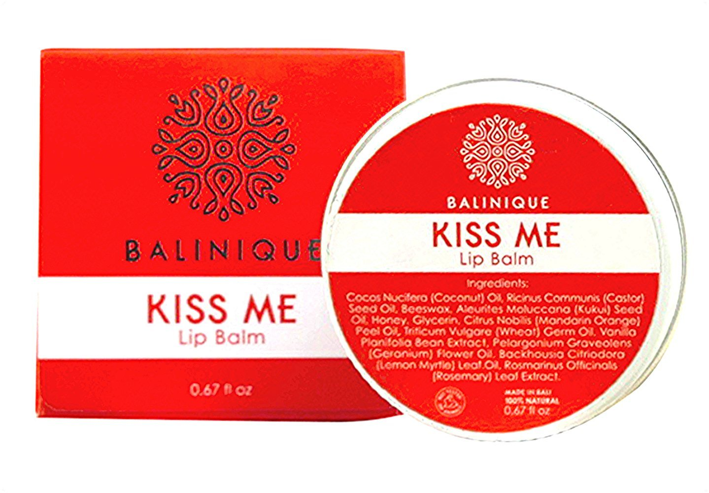 Lip balm. All natural Moisturizing Lip Balm Kiss Me by  Balinique. Natural Beeswax, Coconut Oil, Castor Oil, Honey, Citrus Oil and Natural Oils of Other Flowers Growing in Bali.