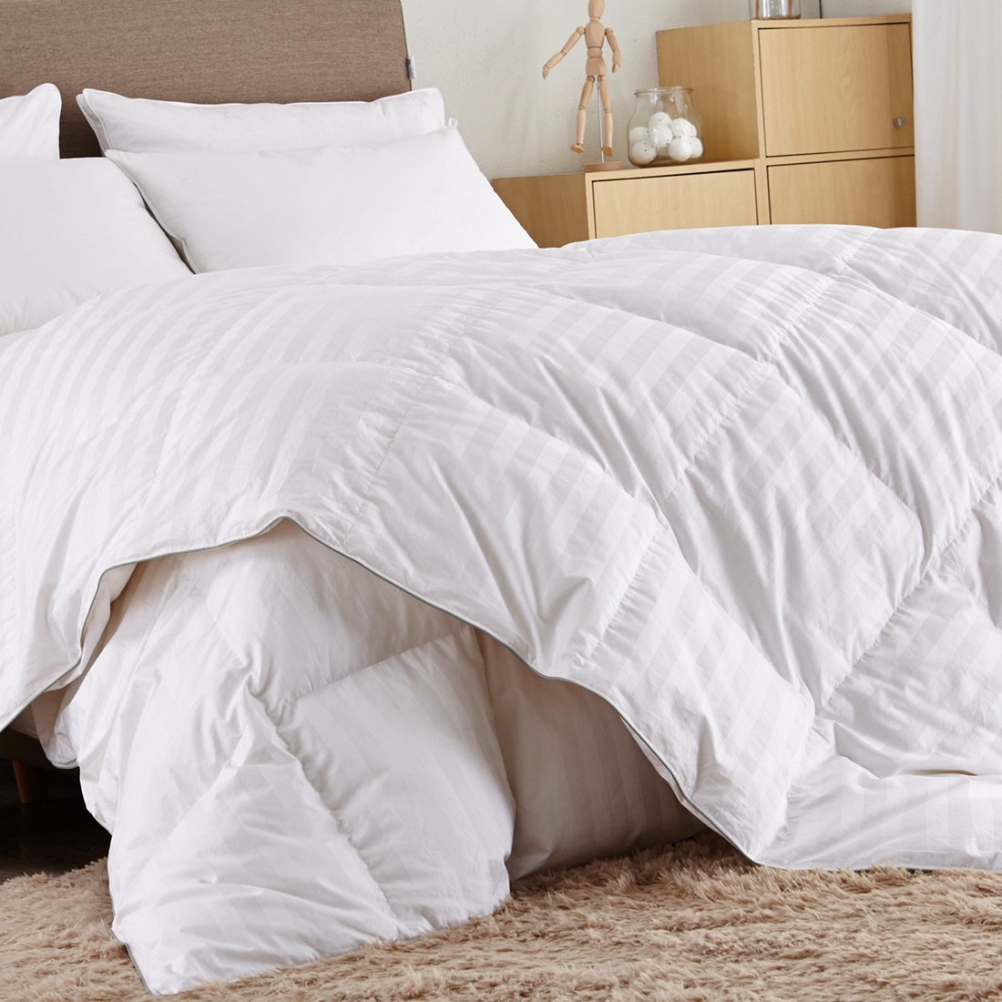 Puredown White Down Comforter-Full/Queen-Cotton Shell 500TC-Stripe White