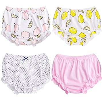 dd33f30b9373e7 Soft Baby Underwear for Toddler Girls' Cotton Training Pants Pack of 4  (Color B