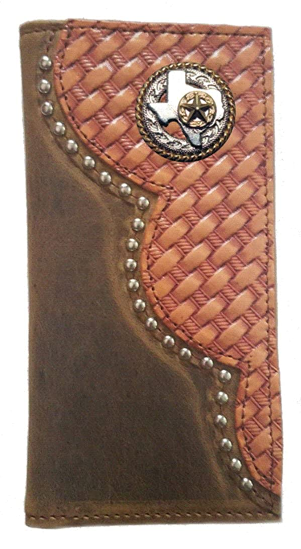 Proudly MADE IN THE USA Custom Buckskin Color Texas Rope and Star Basket Weave Long Leather Checkbook Wallet