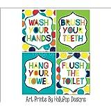 Amazon Com Wash Brush Flush Kids Bathroom Decor Canvas Wall Art