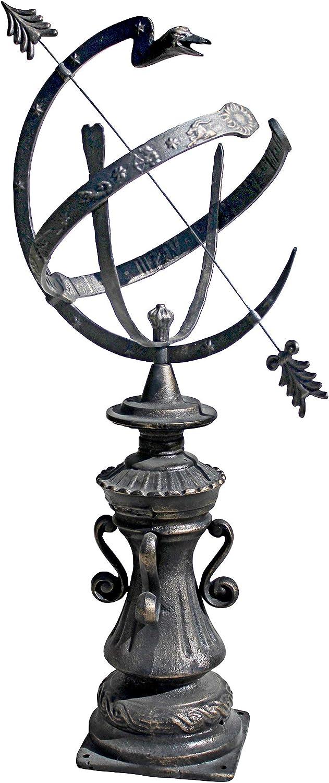 Design Toscano Hyde Park Authentic Garden Armillary Sphere Statue, 24 Inch, Cast Iron, Bronze Finish