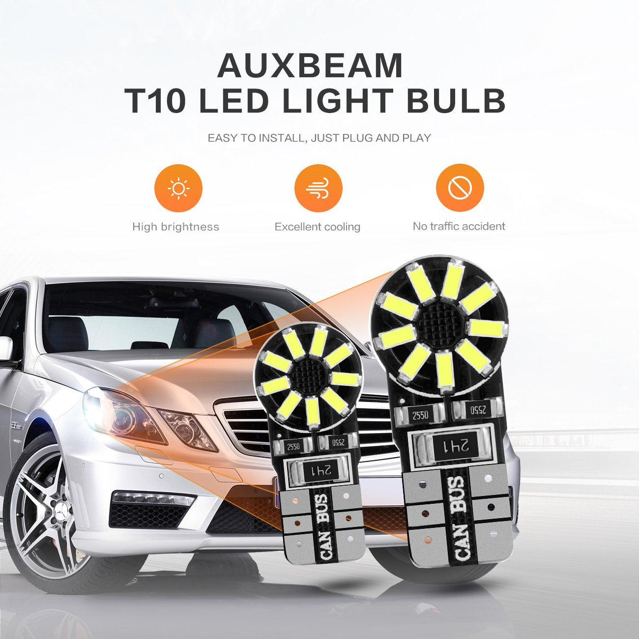 Auxbeam LED 9005 HB3 Headlight Bulbs build in Turbo Fan 2 Year Warranty F-16 Series 6000K White 2 Pcs of LED Conversion Kits Replacement Fog Lights Headlights Halogen Bulbs