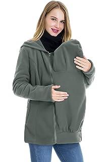 92ba85cea9a Smallshow Baby Carrier Jacket 2 in 1 Fleece Zip Up Kangaroo Maternity  Hoodies