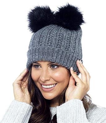 10b02c6390f Foxbury Ladies Chunky Rib Knit Hat with 2 Faux Fur Bobbles Grey   Amazon.co.uk  Clothing