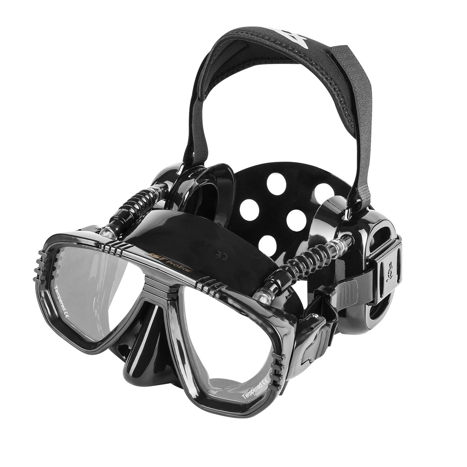 IST ProEar Dive Mask with Ear Covers, Scuba Diving Pressure Equalization Gear, Tempered Glass Twin Lens (Black Silicone) by IST