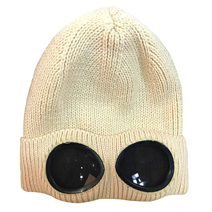 23b6b10900b XRDSS Unisex Goggle Beanie Knitted Winter Chunky Beanie Hat (Beige)   Amazon.co.uk  Clothing