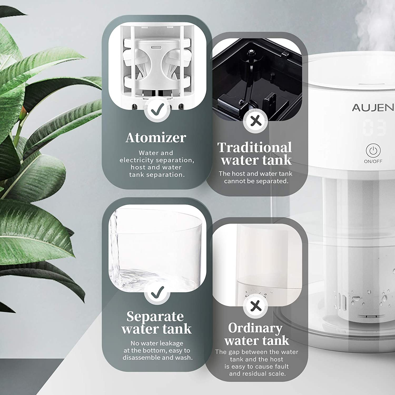 Aujen Humidifier with Night Light Quiet Humidifier for Babies 3L Cool Mist Humidifier for Bedroom Ultrasonic Humidifier for Large Room Air Humidifier with Adjustable Mist Level Lasts Up to 15 Hours