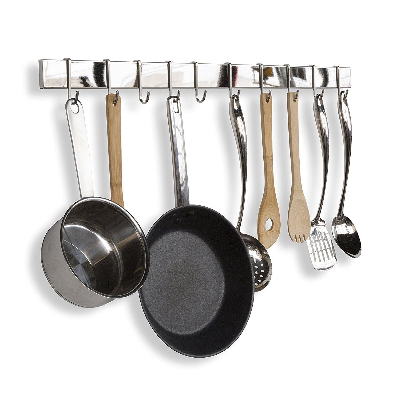 Acero inoxidable Cocina Gourmet Bar Rail Pot Rack para sartenes tapa soporte de pared para colgar organizador de utensilios y muchos más (75 cm, ...