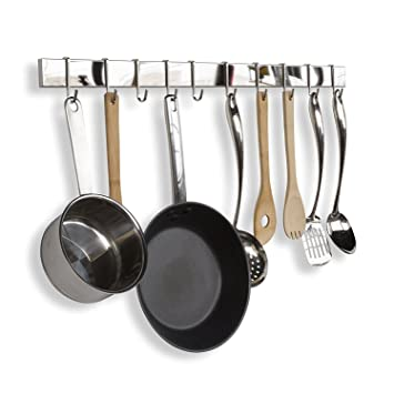 Acero inoxidable Cocina Gourmet Bar Rail Pot Rack para ...