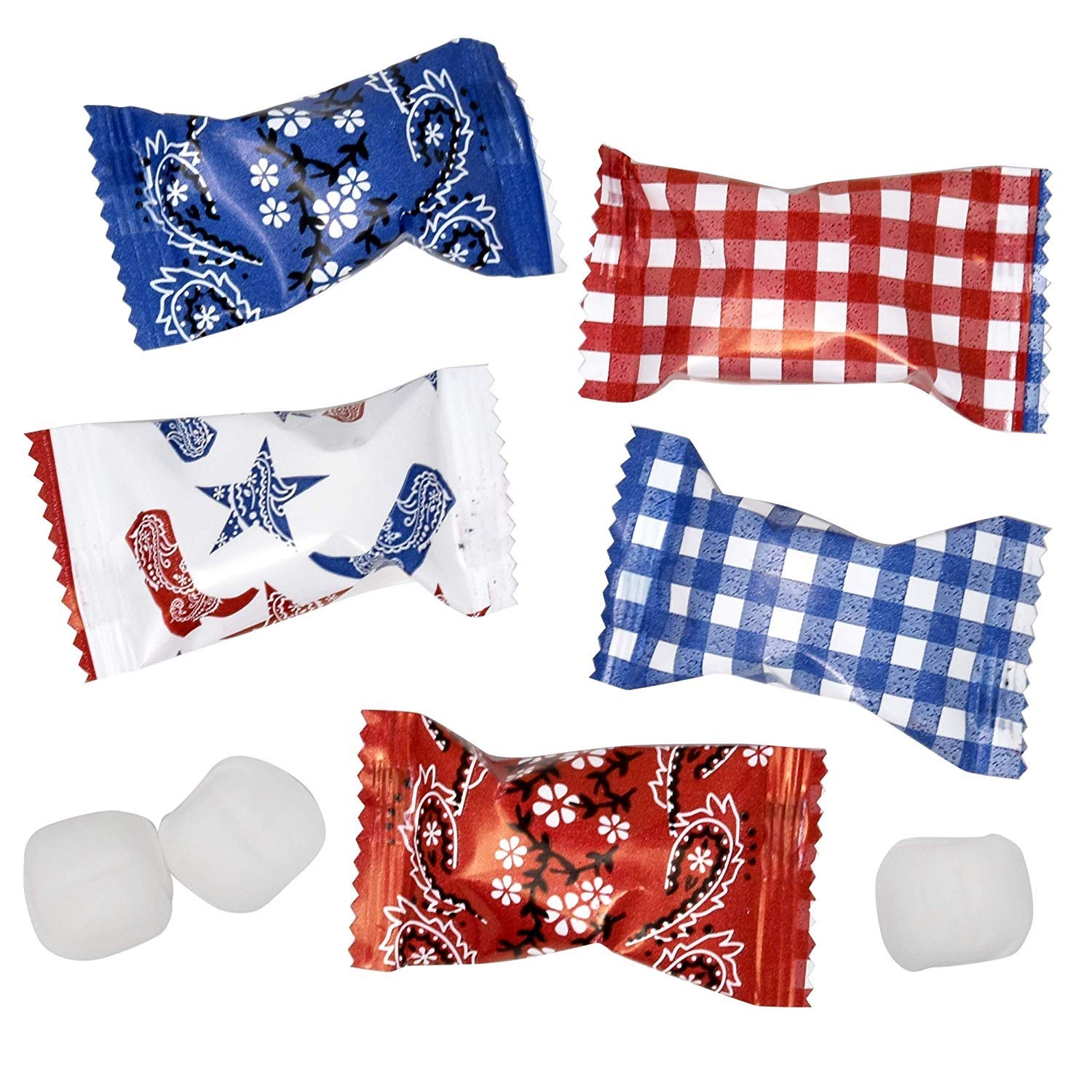 Western Cowboy Bandana Buttermints Candy Bags 100 Count Mint Candies 14 Oz (396g) Treats Sweets Party Favors For Blue & Red Birthday Themes & Parties & For Any Special Occasions