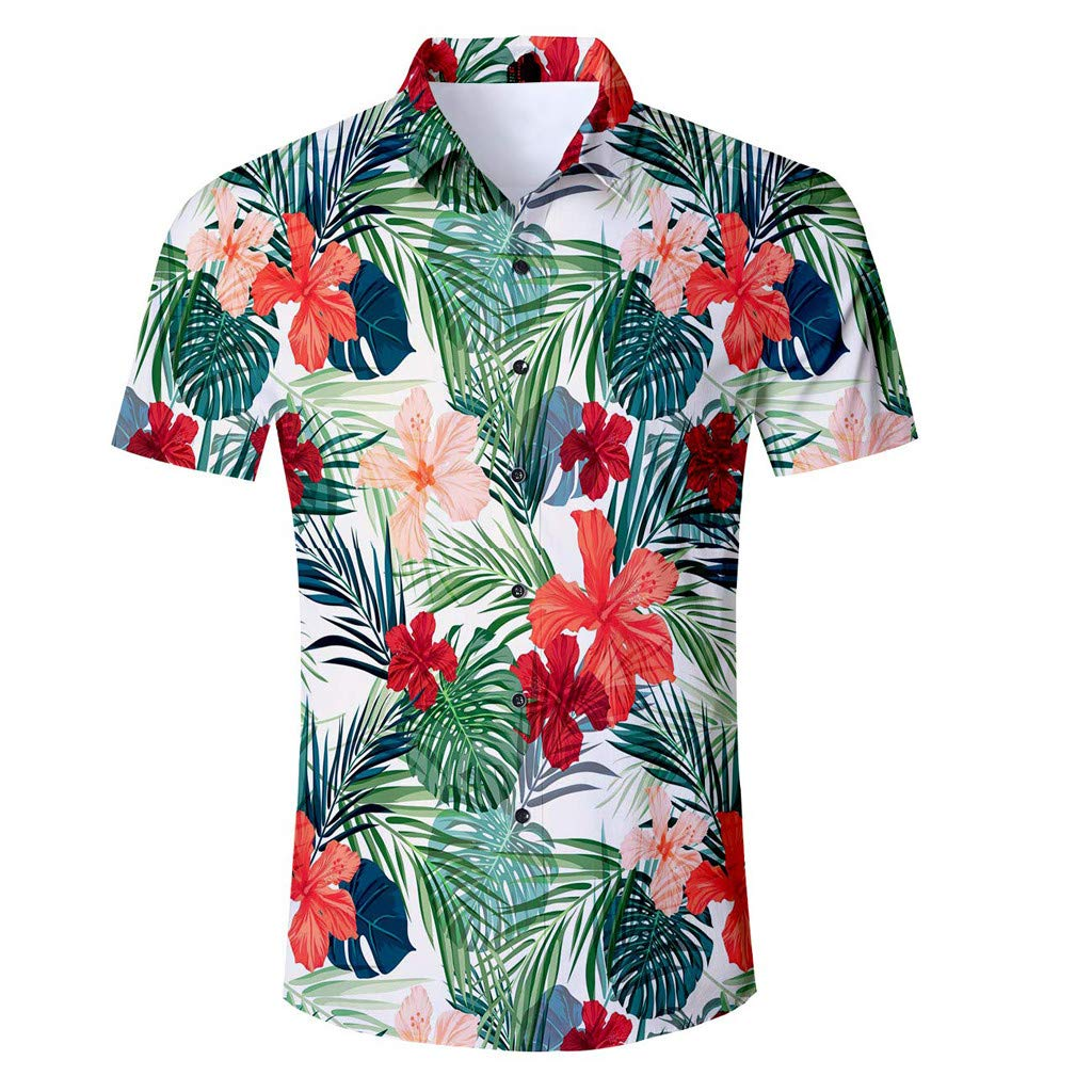 Mens Holiday Style Tops Leaves Pattern Shirt Floral Button Down Short Sleeve Hawaiian Shirts