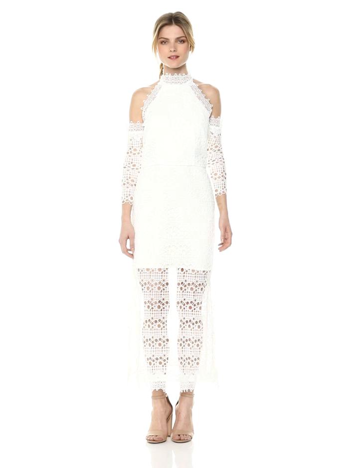 Elliatt Women's Apparel Women's Cold Shoulder Lace Overlay Midi Dress with Illusion Hem