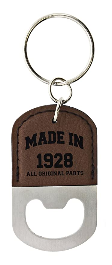 90th Birthday Gifts For Women Made 1928 Party Leather Bottle Opener Keychain Key