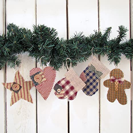 Quilted Christmas Ornaments.Jubilee Creative Studio Set Of 5 Quilted Homespun Fabric Burlap Primitive Christmas Ornaments By