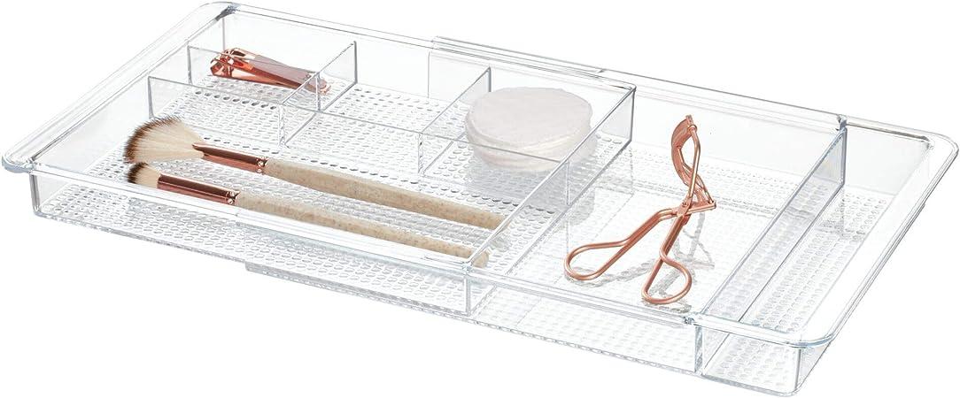 InterDesign Clarity Organizador de maquillaje, separador de cajones extensible en plástico, caja organizadora adaptable, transparente: Amazon.es: Hogar