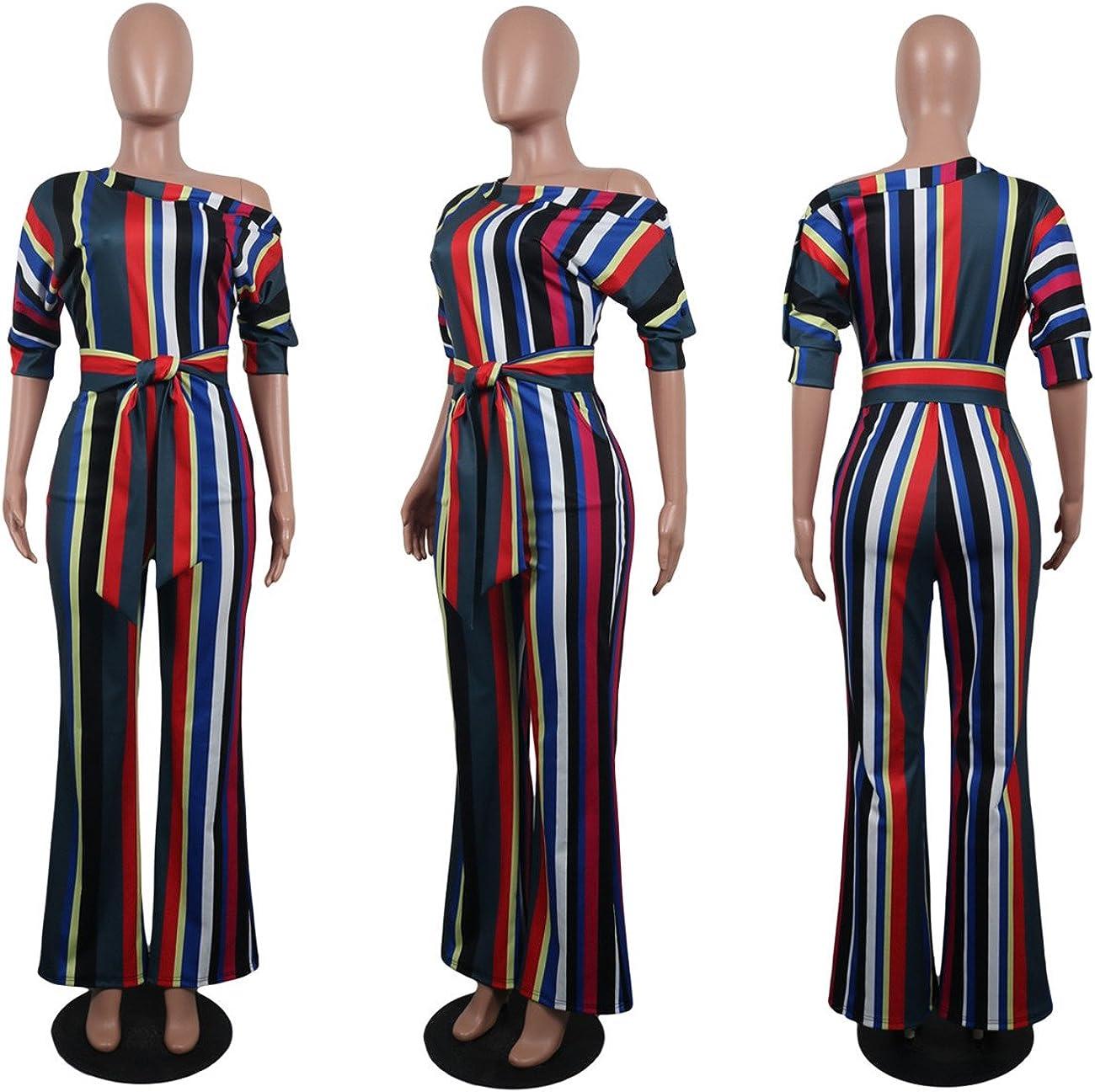 Womens Elegant OL Oblique Shoulder Classic Stripes Romper Jumpsuit with Belt