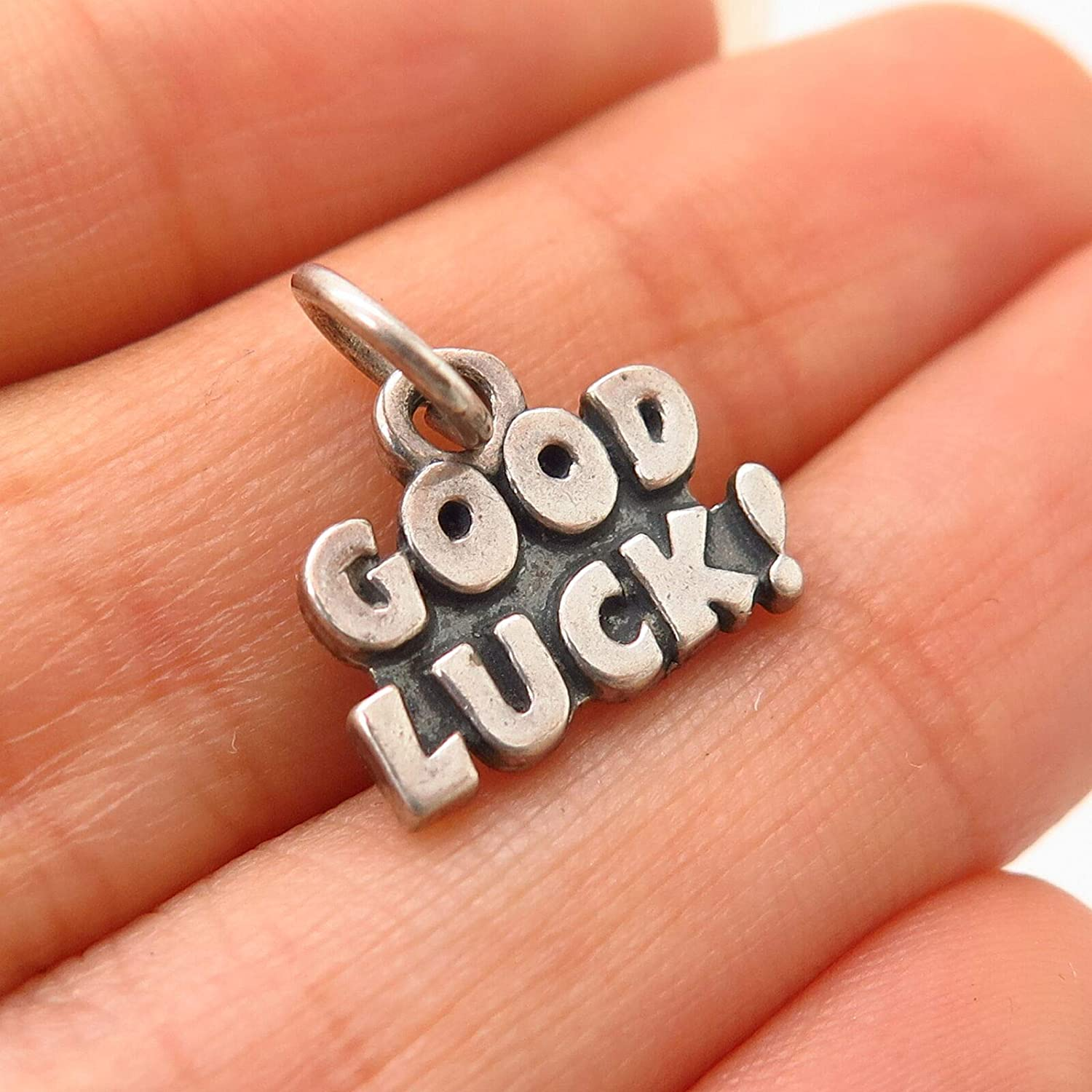 925 Sterling Silver VintageGood Luck Charm Pendant from D/&J
