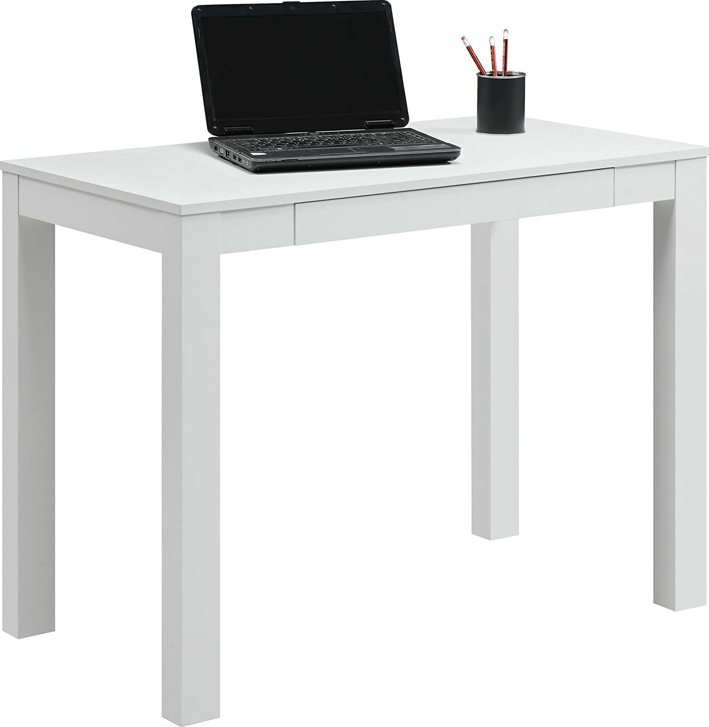 Amazon com  Ameriwood Home Parsons Desk with Drawer  White  Kitchen   Dining. Amazon com  Ameriwood Home Parsons Desk with Drawer  White