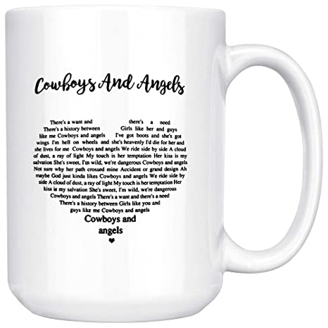 Amazoncom Cowboys And Angels Lyrics Ceramic Coffee Mug Tea Cup