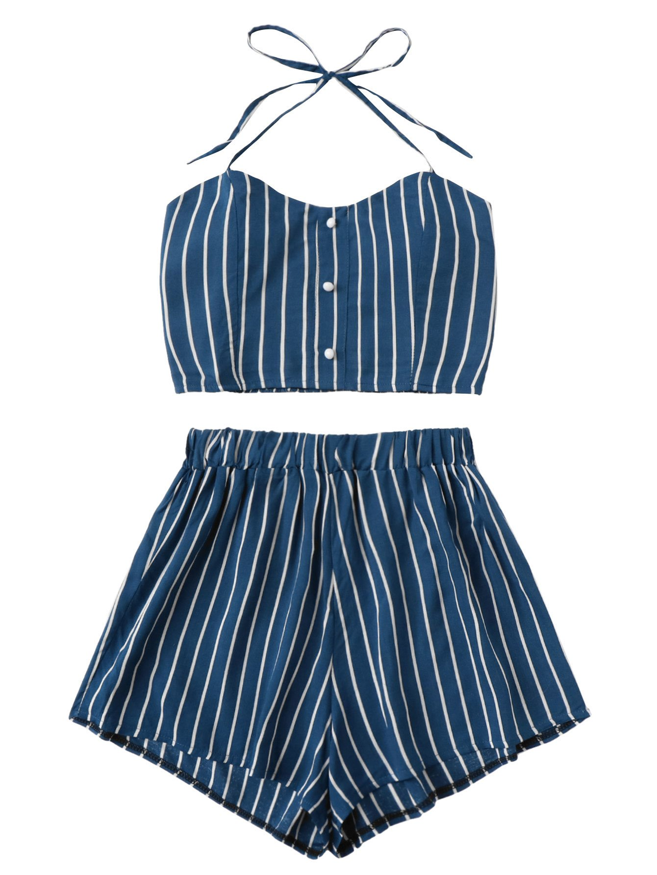 MakeMeChic Women's 2 Piece Outfit Summer Striped V Neck Crop Cami Top with Shorts Blue-3 S