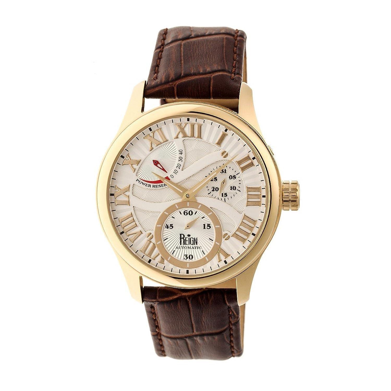 Reignブータン本革メンズ時計、ホワイトダイヤル、ゴールドケース、ブラウン B00UXNEVVI