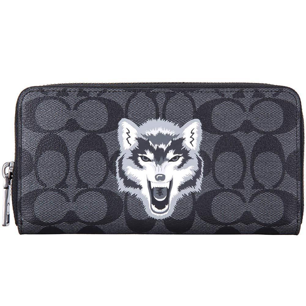 ウルフ/おおかみプリントがインパクト大!メンズコーチ新作長財布のCOACH F31520 QBBK wolf