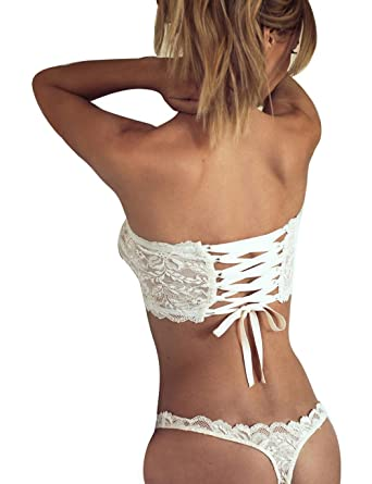 88b93753170d3 Bifast Womens Sexy Lingerie Strappy Set Open Cup Halter Lace Babydoll White  X-Large
