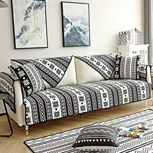 HUANXA Flax Sofa Cushion, Furniture Protector Non-Slip Stain Resistant Living Room Couch Covers Backing Season Pass Sofa Slipcover for L-Shaped 1 PCS-D-70x160cm(28x63inch)
