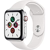 Apple Series 5 GPS + Cellular 44mm Stainless Steel Watch with White Sport Band