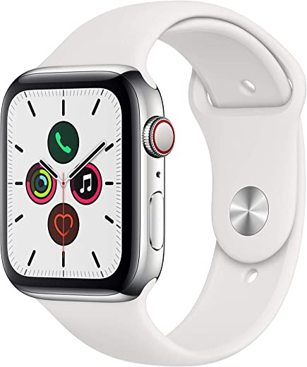 Apple Watch Series 5 (GPS+Cellular, 44mm) -  Stainless Steel Case with White Sport Band